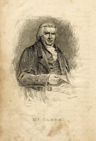 Engraved portrait of John Clerk by J. Stewart; [Portraits]; Mr. Clerk