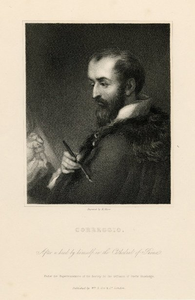 Steel engraved portrait of Correggio by H. Meyer after a self-portrait; [Portraits]; Correggio: After a Head by Himself in the Cathedral of Parma