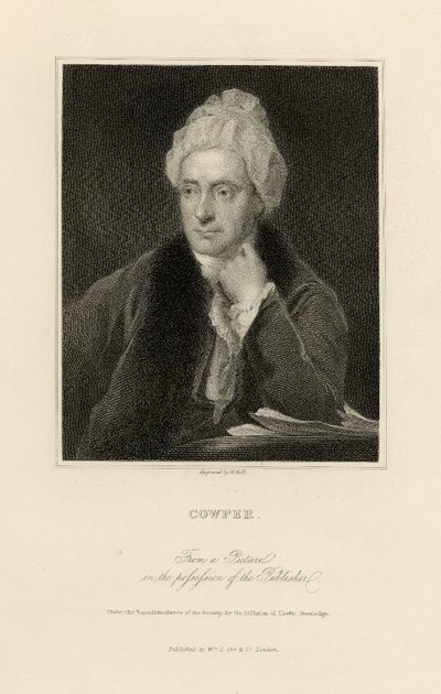Steel engraved portrait of William Cowper by W. Holl; [Portraits]; Cowper: From a Picture in the Possession of the Publisher