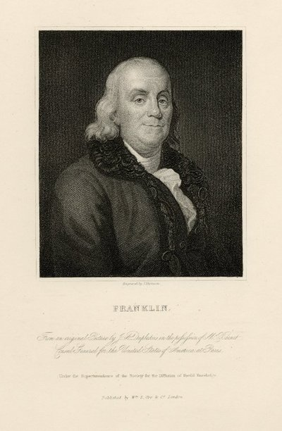 Steel engraved portrait of Benjamin Franklin by J. Thomson after a painting by J. A. Duplessis; [Portraits]; Franklin: From an Original picture by J. A. [sic] Duplessis in the Possession of Mr. Barnet Consul General for...