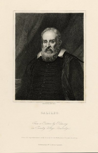 Steel engraved portrait of Galileo by R. Hart after a painting by Ramsay; [Portraits]; Galileo: From a picture by Ramsay in Trinity College, Cambridge