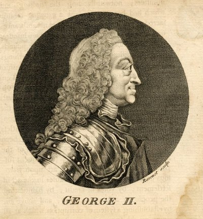 Engraved portrait of George II by S. F. Ravenet probably after T. Worlidge; [Portraits]; George II