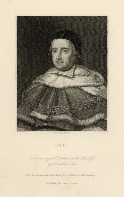 Steel engraved portrait of Sir Matthew Hale by J. W. Cook after a painting by John Michael Wright; Letters on Demonology and Witchcraft; Hale: From an Original Picture in the Library of Lincolns Inn