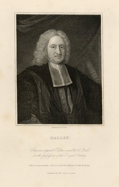 Steel engraved portrait of Edmond Halley by W. T. Fry from a picture ascribed to Dahl; [Portraits]; Halley: From an Original Picture Ascribed to Dahl in the Possession of the Royal Society