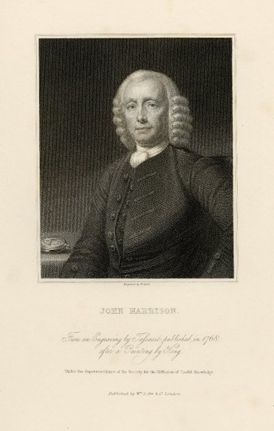 Steel engraved portrait of John Harrison by W. Holl after a painting by T. King; [Portraits]; John Harrison: From an Engraving by Tassaert, Published in 1768, after a Painting by King