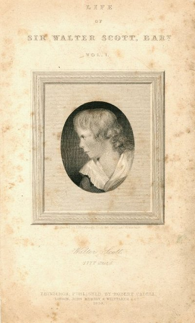 Engraved portrait of Sir Walter Scott as a child by J. Horsburgh from a copy of the original miniature; [Portraits]; Walter Scott, 1777, AEtat. 6