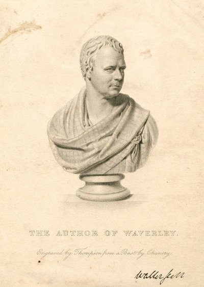 Engraved portrait of Sir Walter Scott by Thomson from a bust by F. Chantrey; [Portraits]; The Author of Waverley