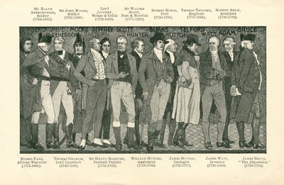 [Portraits]; [Reproduction of a photograph of a portion of mural featuring notable Scotsmen, including Sir Walter Scott, by W.B. Hole]