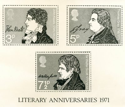 Photograph of R. Dease's designs for stamps of John Keats, Thomas Gray and Sir Walter Scott; [Portraits]; Literary Anniversaries 1971