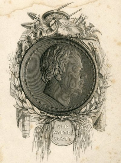 Engraved profile portrait by E. Lacey from a medal of Sir Walter Scott by A. J. Stothard; [Portraits]; Sir Walter Scott