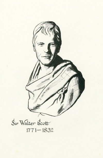 Facsimile of a drawing of Sir Walter Scott by B. Driscoll after a bust by F. Chantrey; [Portraits]; Sir Walter Scott 1771-1832
