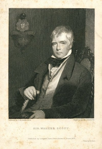 Engraved portrait of Sir Walter Scott by M.I. Danforth after C.R. Leslie; [Portraits]; Sir Walter Scott