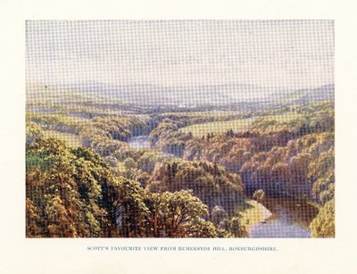 Facsimile of a painting of the River Tweed and the Eildon Hills by H.S. Palmer; [Homes and Haunts]; Scott's Favourite View from Bemersyde Hill, Roxburghshire.