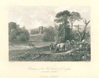 Engraving of the ruins of Douglas Castle by W. Forrest after J.C. Brown; Castle Dangerous; Remains of the Old Castle of Douglas, Douglas-dale, Lanarkshire.