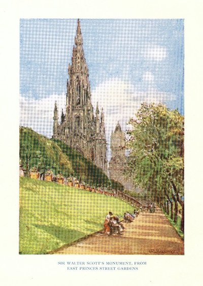 Facsimile of a watercolour of the Scott Monument by J. Fulleylove; [Monuments]; Sir Walter Scott's Monument, From East Princes Street Gardens