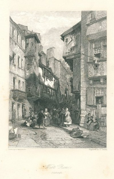 Engraving of West Bow, Edinburgh by J. Cousen after G. Cattermole; Heart of Mid-Lothian, The; West Bow, Edinburgh