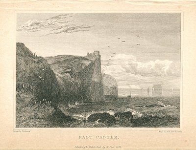 Engraving of Fast Castle by W. H. Lizars after J. Ewbank; Bride of Lammermoor, The; Fast Castle