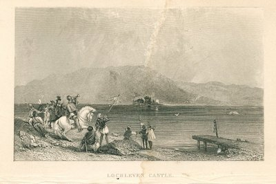 Engraving of Loch Leven and Loch Leven Castle by R. Brandard after G. Cattermole; Abbot, The; Tales of a Grandfather; being Stories taken from Scottish History; Lochleven Castle