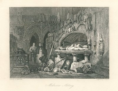 Engraving by T. Higham after G. Cattermole of a scene from Scott's novel The Abbot; Abbot, The; Melrose Abbey