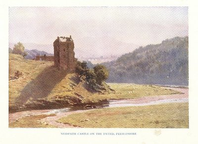 Facsimile of a watercolour painting of Neidpath Castle by S. Palmer; Maid of Neidpath, The; St. Ronan's Well; Neidpath Castle on the Tweed, Peebleshire