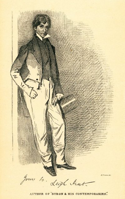 Facsimile reproduction of a print portrait of Leigh Hunt by Daniel Maclise; [Portraits]; Author of 'Byron & His Contemporaries'