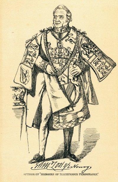 Facsimile reproduction of a print portrait of Edmund Lodge by Daniel Maclise; [Portraits]; Author of 'Memoirs of Illustrious Personages'