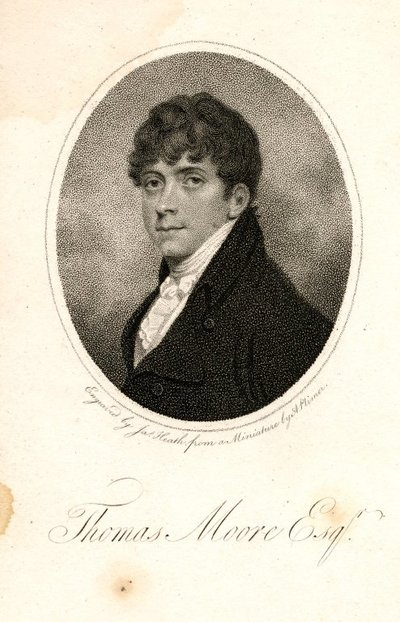 Engraved portrait of Thomas Moore by J. Heath after a miniature by A. Plimer; [Portraits]; Thomas Moore Esqr.