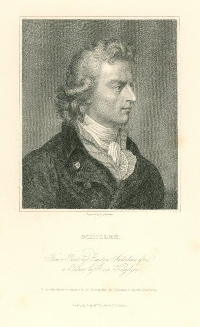 Engraved portrait of Friedrich Schiller by J. Posselwhite after F. Anderloni after G. von Kugelgen; [Portraits]; Schiller: From a Print by Faustin Anderloni, after a Picture by G. von Kugelgen
