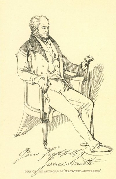 Facsimile reproduction of a print portrait of James Smith by Daniel Maclise; [Portraits]; One of the Authors of 'Rejected Addresses'