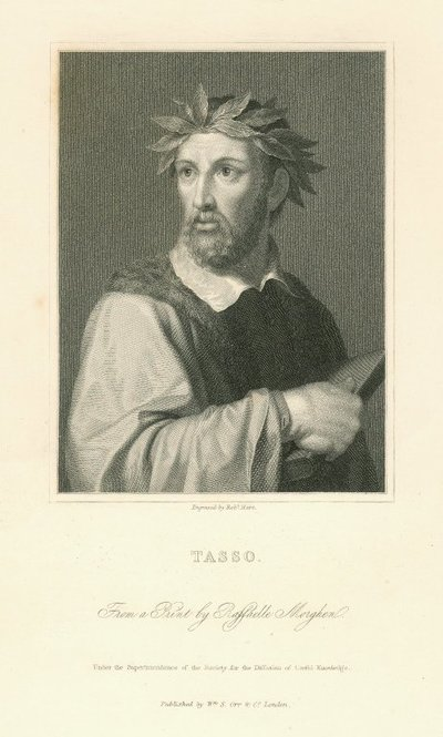 Engraved portrait of Torquato Tasso by R. Hart after R. Morghen after P. Ermini; [Portraits]; Tasso: From a Print by Raffaelle Morghen