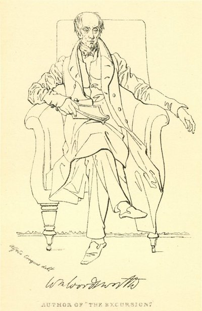 Facsimile reproduction of a print portrait of William Wordsworth by Daniel Maclise; [Portraits]; Author of 'The Excursion'