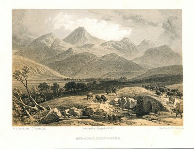 Lithograph of Ben More by T. Picken after W. L. Leitch; Glenfinlas, or Lord Ronald's Coronach; Benmore, Perthshire