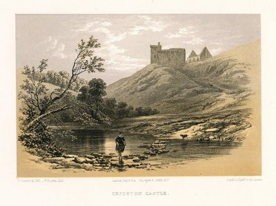 Lithograph of Crichton Castle by T. Picken after T. Creswick; Marmion; a Tale of Flodden Field; Provincial Antiquities and Picturesque Scenery of Scotland; Crichton Castle
