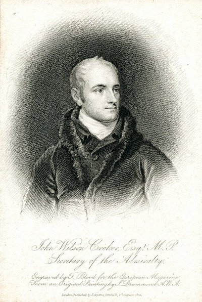 Engraved portrait of John Wilson Croker by T. Blood after S. Drummond; Letters of Malachi Malagrowther; Tales of a Grandfather; being Stories taken from Scottish History; John Wilson Croker, Esqr., M.P., Secretary to the...