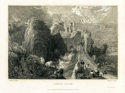 Engraving of Dunbar Castle by E. Goodall after J. C. Schetky; Provincial Antiquities and Picturesque Scenery of Scotland; Thomas the Rhymer; Tales of a Grandfather; being Stories taken from Scottish History; Dunbar Castle