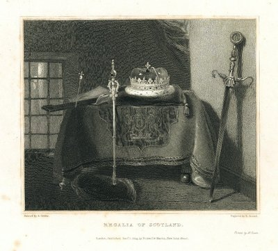 Engraving of the Regalia of Scotland by E. Goodall after A. Geddes; Provincial Antiquities and Picturesque Scenery of Scotland; Description of the Regalia of Scotland; Regalia of Scotland