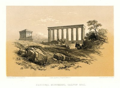 Lithograph of the National Monument, Calton Hill, Edinburgh by T. Picken after J.D. Harding; Provincial Antiquities and Picturesque Scenery of Scotland; National Monument, Calton Hill