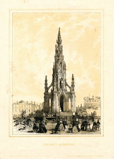 Lithograph of the Scott Monument, Edinburgh by J. Sutcliffe; [Monuments]; The Scott Monument