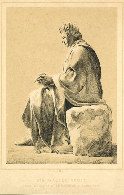 Lithograph of Sir J. Steell's statue of Sir Walter Scott by J. Sutcliffe; [Portraits]; Sir Walter Scott: From the Statue in the Monument at Edinburgh
