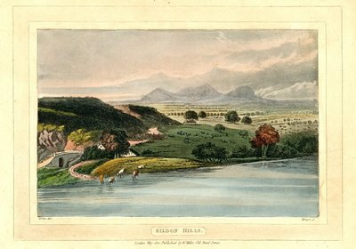 Hand-coloured aquatint of a view of Eildon Hills by J. Merigot after J. Girten.; Lay of the Last Minstrel, The; Eve of St John, The; Eildon Hills