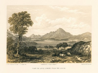 Lithograph of Loch Lomond by T. Picken after H. McCulloch; Lady of the Lake, The; Rob Roy; View of Loch Lomond from the South