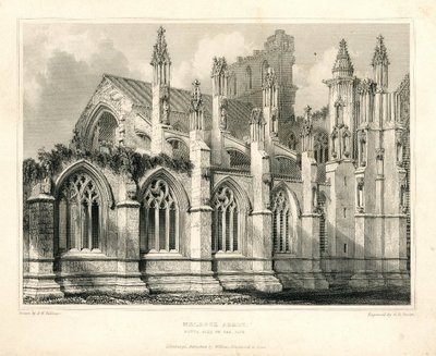 Engraving of Melrose Abbey by G.B. Smith after R.W. Billings; Lay of the Last Minstrel, The; Monastery, The; Abbot, The; Essay on Border Antiquities; Melrose Abbey: South Side of the Nave