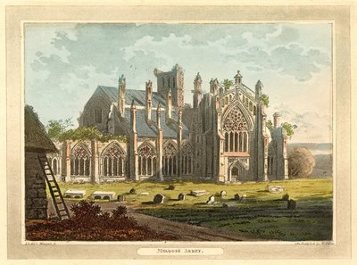 Hand-coloured aquatint of Melrose Abbey by Merigot after J. Stoddart; Lay of the Last Minstrel, The; Monastery, The; Abbot, The; Essay on Border Antiquities; Melrose Abbey