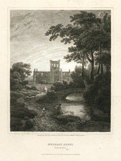 Engraving of Melrose Abbey by J. Greig after G. Arnald; Essay on Border Antiquities; Lay of the Last Minstrel, The; Monastery, The; Abbot, The; Melrose Abbey, Roxburgshire [sic]