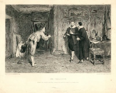 Engraving by J. Stephenson after a painting by W. Q. Orchardson depicting a scene from Scott's novel Peveril of the Peak; Peveril of the Peak; The Challenge: From the Painting in the Collection of W. Cuthbert Quilter, Esq.