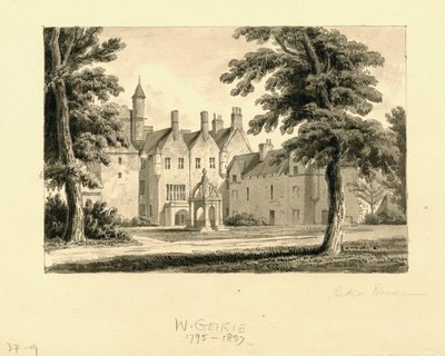 Drawing of Pinkie House by W. Geikie; Waverley; or 'Tis Sixty Years Since; Pinkie House