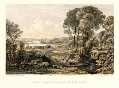 Lithograph of the Clyde River by E. Walker after W. L. Leitch; Rob Roy; Heart of Mid-Lothian, The; View of the Clyde above Erskine Ferry