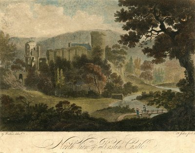 Painted engraving of Rosslyn Castle by F. Jukes after G. Walker; Lay of the Last Minstrel, The; Provincial Antiquities and Picturesque Scenery of Scotland; North View of Roslin Castle