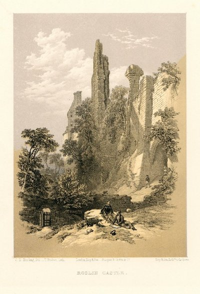 Lithograph of Rosslyn Castle by T. Picken after J. D. Harding; Lay of the Last Minstrel, The; Provincial Antiquities and Picturesque Scenery of Scotland; Roslin Castle
