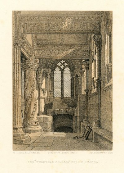 Lithograph of the interior of Rosslyn Chapel and the 'Prentice Pillar' by T. Picken after W. L. Leitch; Lay of the Last Minstrel, The; Provincial Antiquities and Picturesque Scenery of Scotland; Talisman, The; The...